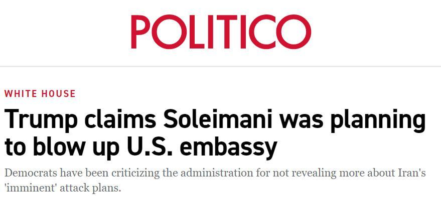 Politico Soleimani Trump embassy