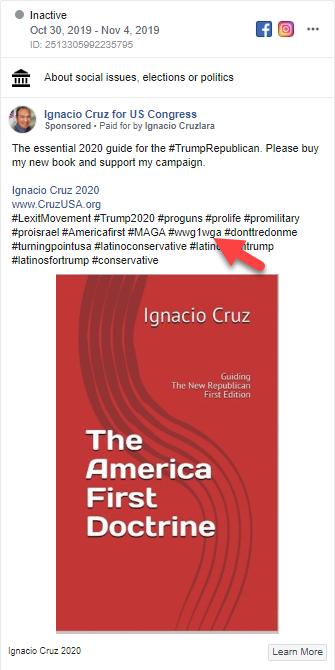 Ignacio Cruz Facebook ad QAnon