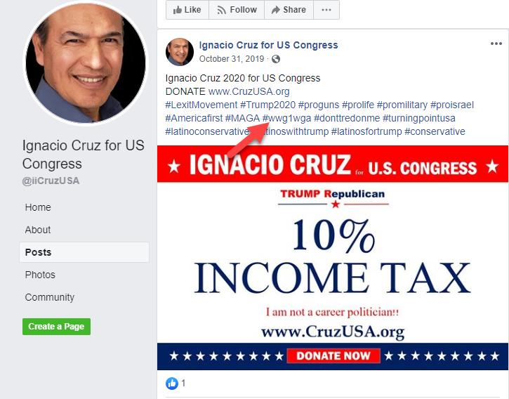 Ignacio Cruz Facebook campaign page QAnon1