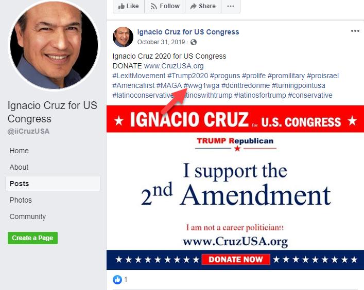 Ignacio Cruz Facebook campaign page QAnon2