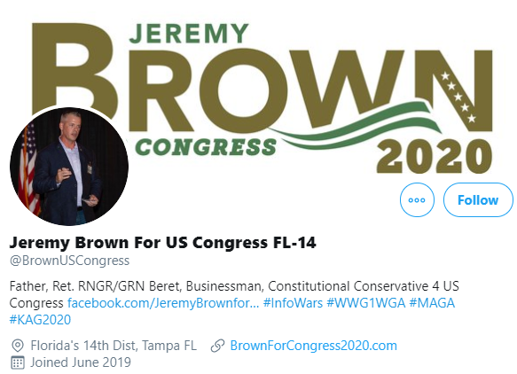 Jeremy Brown Twitter profile QAnon