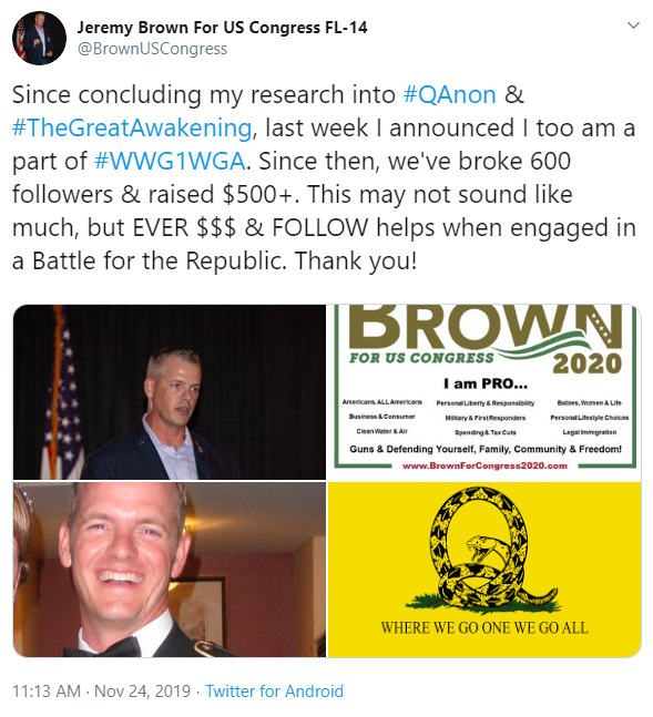 Jeremy Brown tweet QAnon