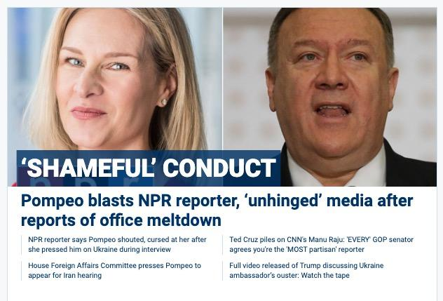 "FoxNews.com screen grab - ""shameful"" conduct by Mary Louise Kelly vs. Mike Pompeo"