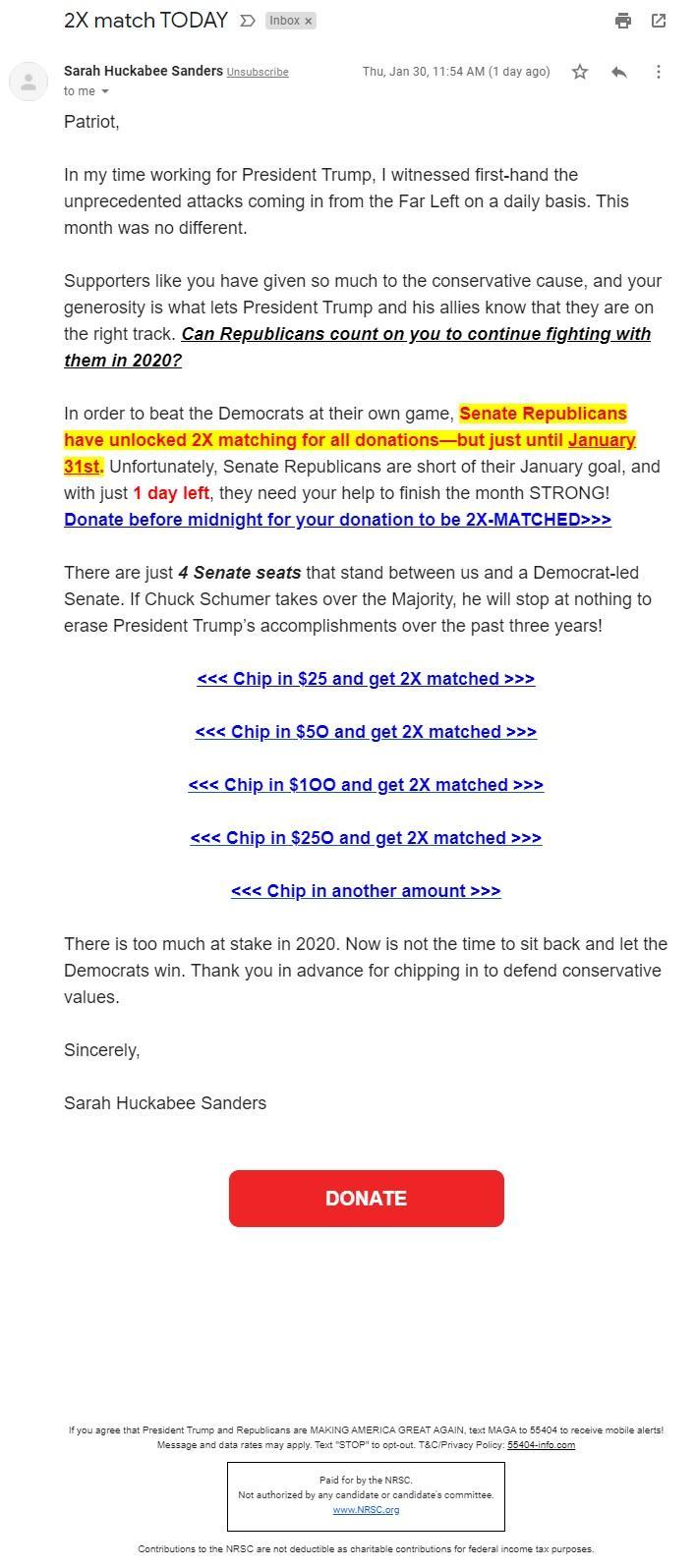 Sarah Huckabee Sanders NRSC email