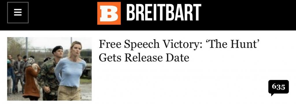"Breitbart: ""Free Speech Victory: 'The Hunt' Gets Release Date"""