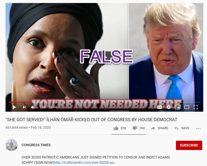 Congress Times YouTube false Omar video