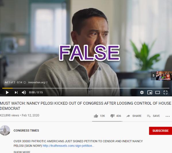 Congress Times YouTube false Pelosi Congress video