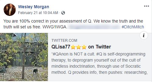 Wesley Morgan QAnon Facebook post1