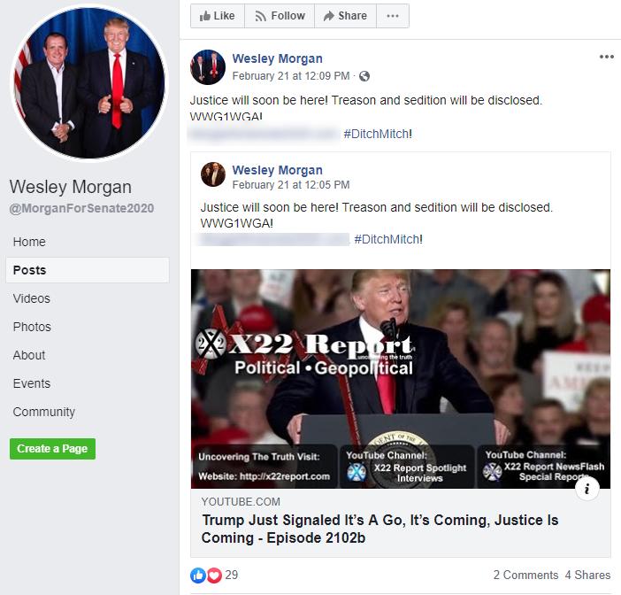 Wesley Morgan QAnon campaign Facebook post1