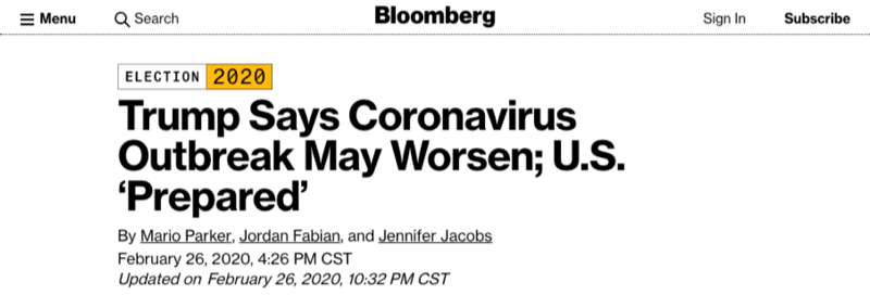 "Bloomberg: ""Trump Says Coronavirus Outbreak May Worsen; U.S. 'Prepared'"""
