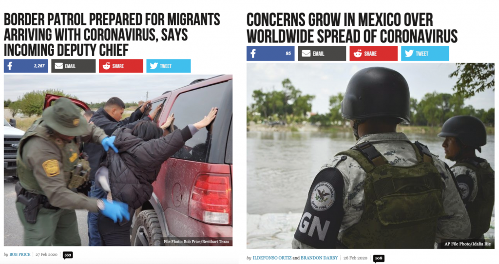 "Screenshots of two Breitbart.com articles about coronavirus. The screenshot on the left reads: ""Border Patrol Prepared for Migrants Arriving with Coronavirus, Says Incoming Deputy Chief"" and features a photo of a Border Patrol agent searching two men against a car. The screenshot on the right features the headline: ""Concerns Grow in Mexico over Worldwide Spread of Coronavirus"" and shows two Border Patrol agents standing near a body of water."