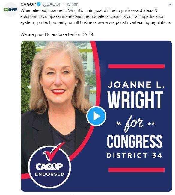 CAGOP endorsement of Joanne Wright image