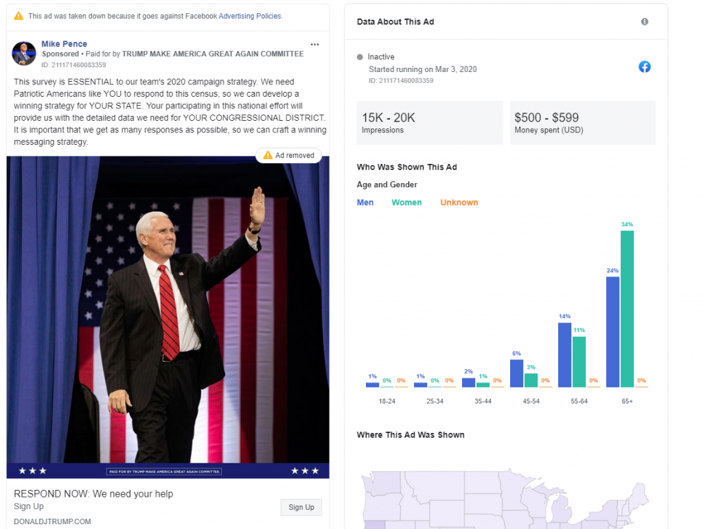 Mike Pence's Facebook ad with census disinformation from 20200305