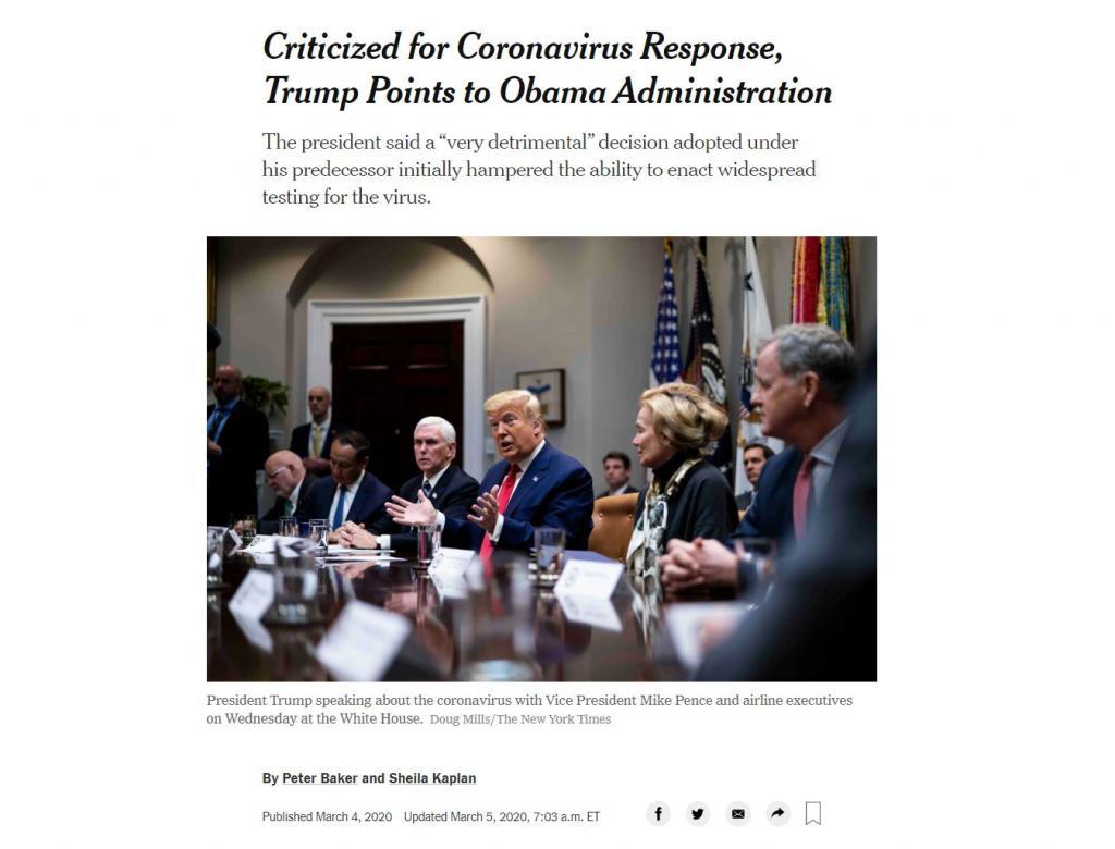 NYT Baker Trump coronavirus Obama
