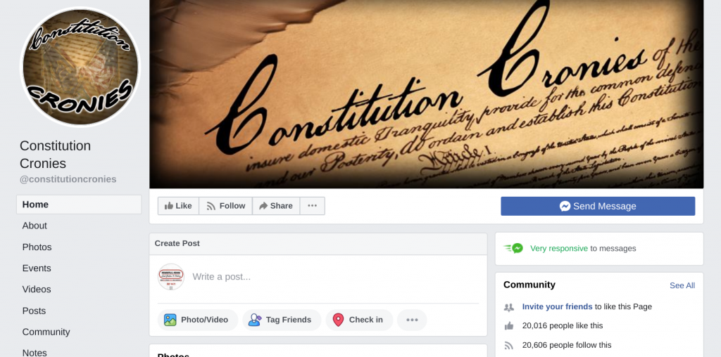 Image of Constitution Cronies' Facebook page with about 20,000 page likes