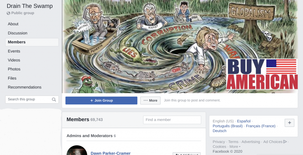 Drain the Swamp Facebook group with nearly 70,000 members