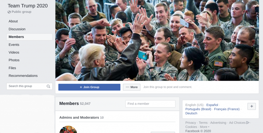 Image of Team Trump 2020 Facebook group with over 50,000 members