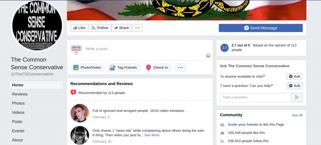 Image of The Common Sense Conservative Facebook page with 535,548 page likes