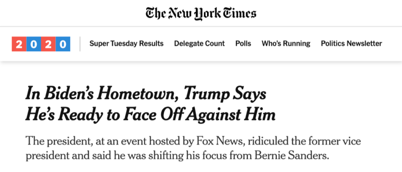 "The New York Times: ""In Biden's Hometown, Trump Says He's Ready to Face Off Against Him"""
