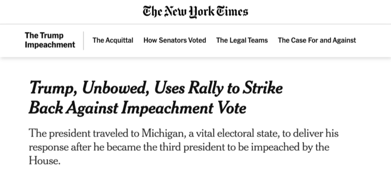 "The New York Times: ""Trump, Unbowed, Uses Rally to Strike Back Against Impeachment Vote"""