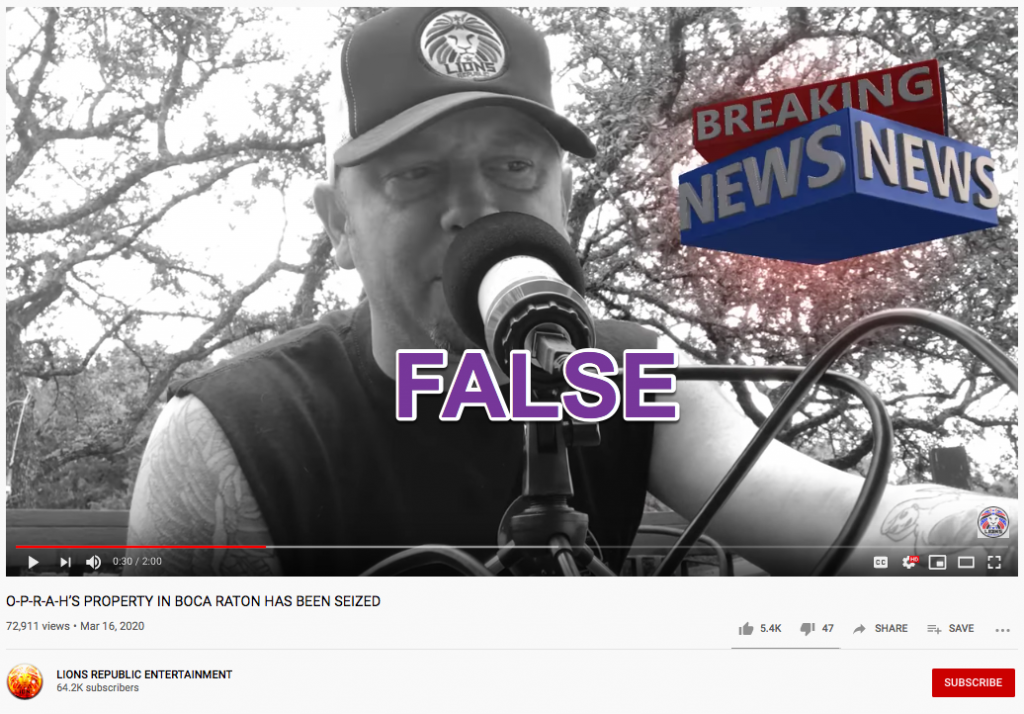 Oprah hoax YouTube2