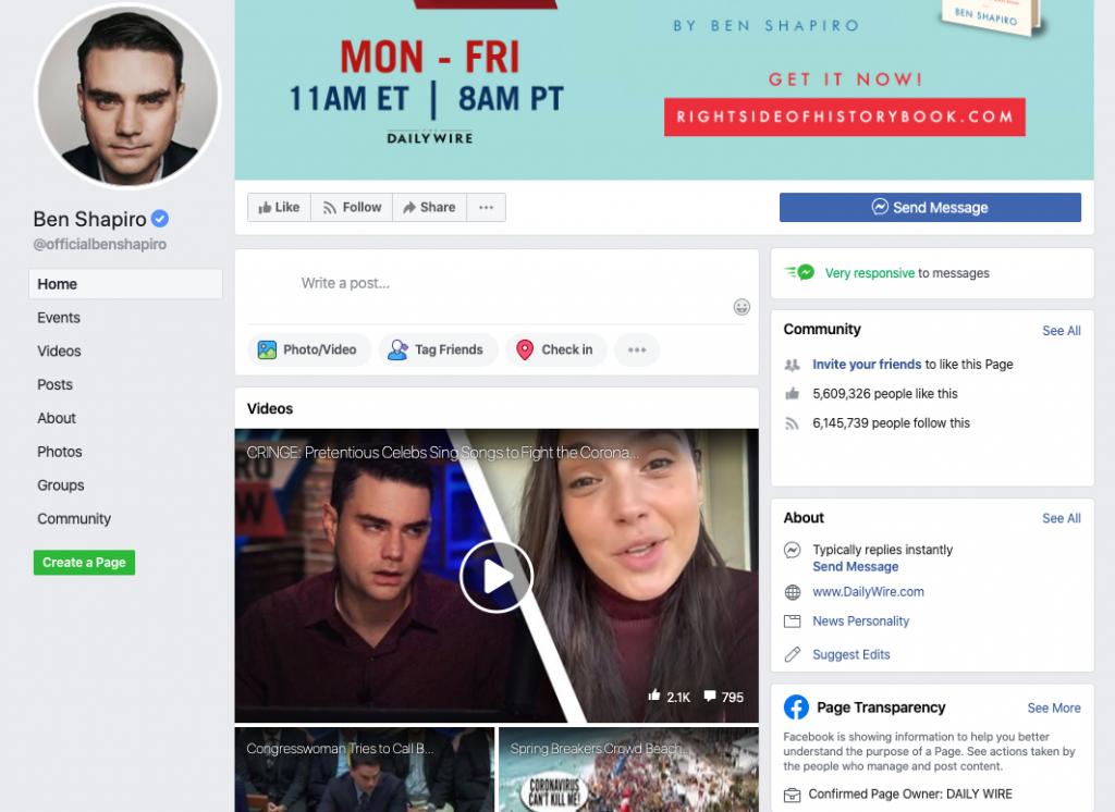 Ben Shapiro Facebook page_as of 20200320