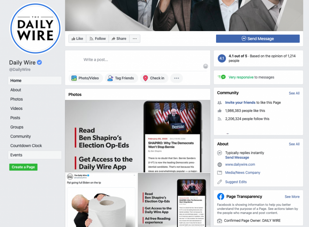 The Daily Wire Facebook page_as of 20200320