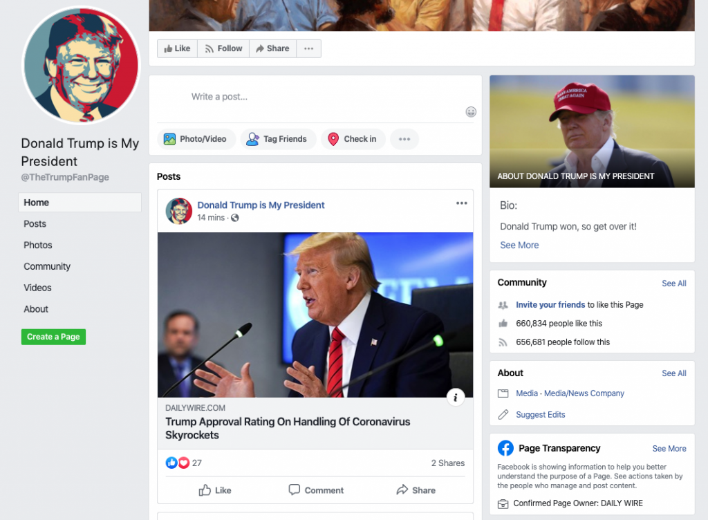 Donald Trump is My President Facebook page_as of 20200320