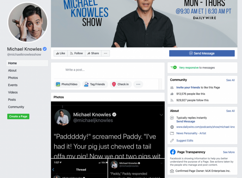 Michael Knowles Facebook page_as of 20200320
