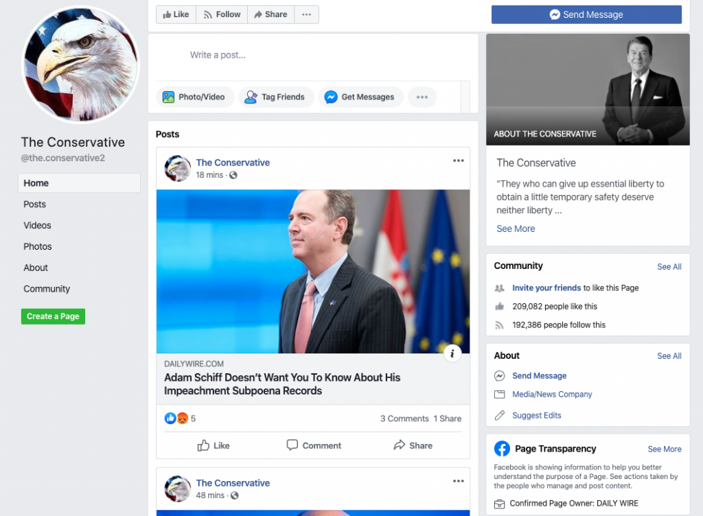 The Conservative Facebook page_as of 20200320