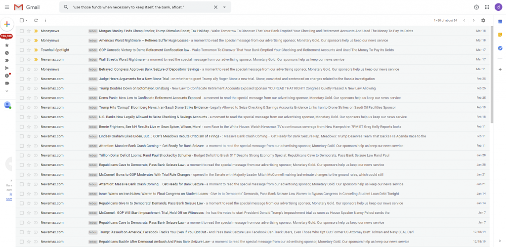 Search of Monetary Gold emails on Gmail
