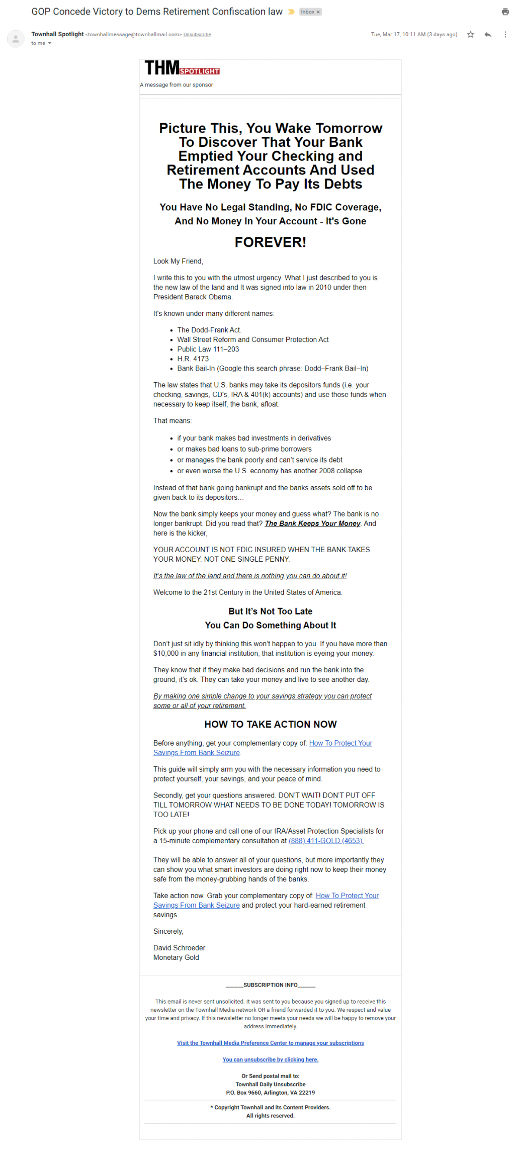 Townhall / Monetary Gold email