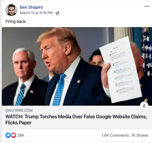 Image of Ben Shapiro's Facebook post on March 15, 2020