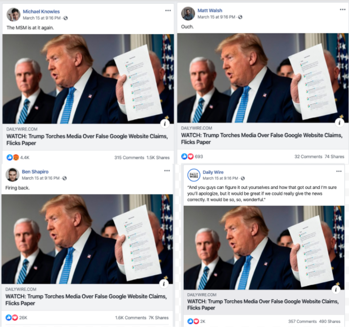 Image of Facebook posts from multiple pages linking to the same article from The Daily Wire