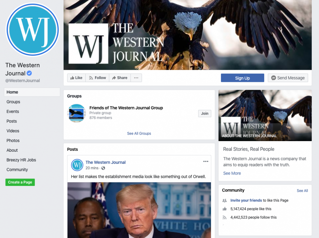 The Western Journal Facebook page_as of 20200322