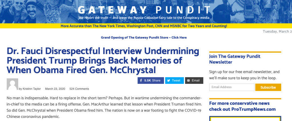 "A headline on The Gateway Pundit reading ""Dr. Fauci Disrespectful Interview Undermining President Trump Brings Back Memories of When Obama Fired Gen. McChrystal"""