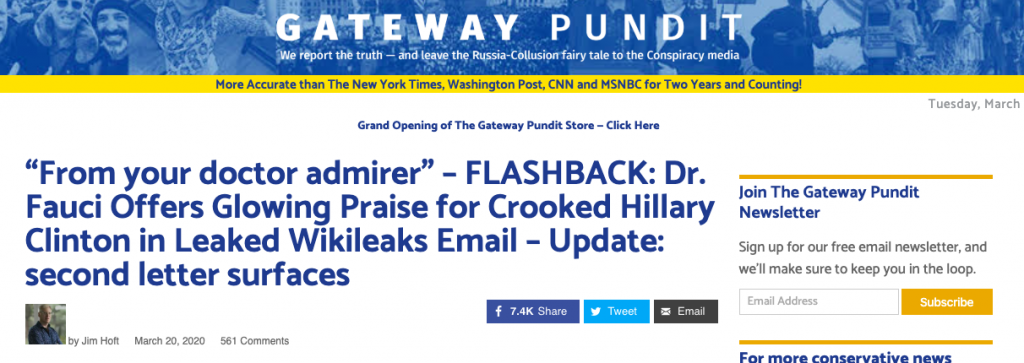 "A headline on The Gateway Pundit reading ""'From your doctor admirer' – FLASHBACK: Dr. Fauci Offers Glowing Praise for Crooked Hillary Clinton in Leaked Wikileaks Email – Update: second letter surfaces"""