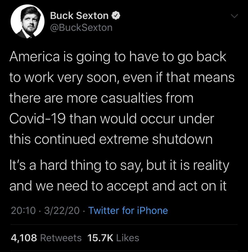Buck Sexton tweet 3/22