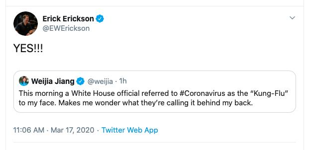 """Erick Erickson tweet on coronavirus, """"Kung Flu"""" - 03-17-2020"""