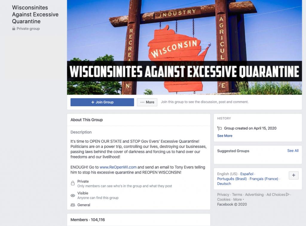 Image of Wisconsinites Against Excessive Quarantine Facebook group