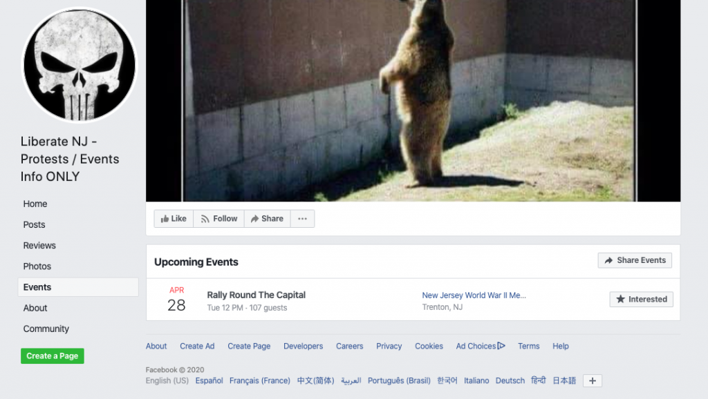 Image of group's event page