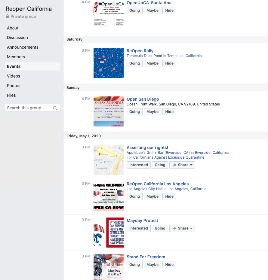 Image of group page with events