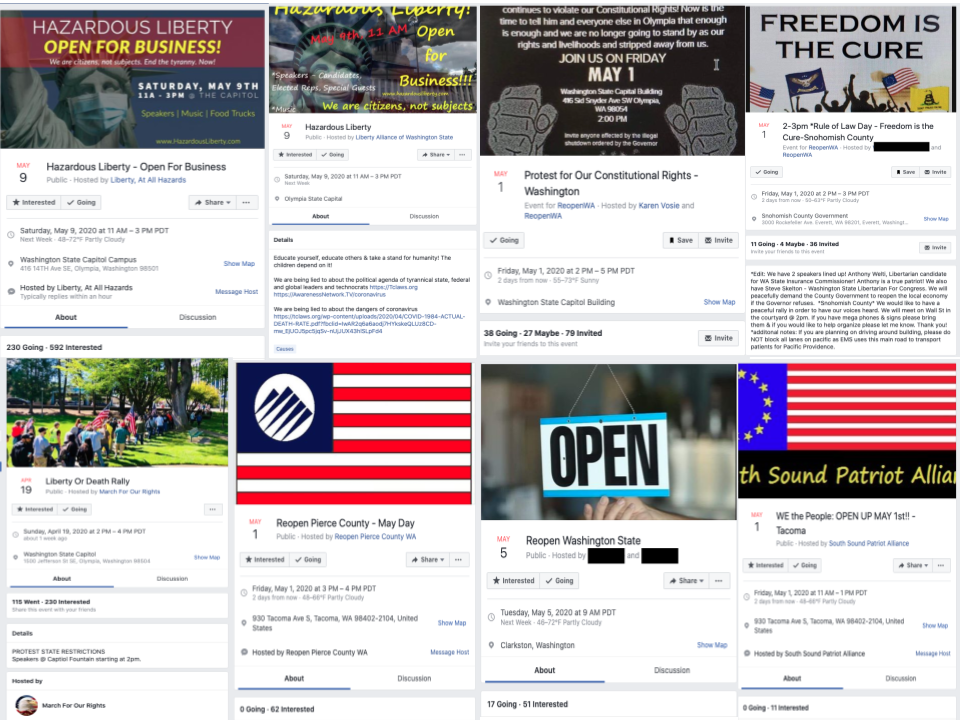 Image of multiple Facebook events
