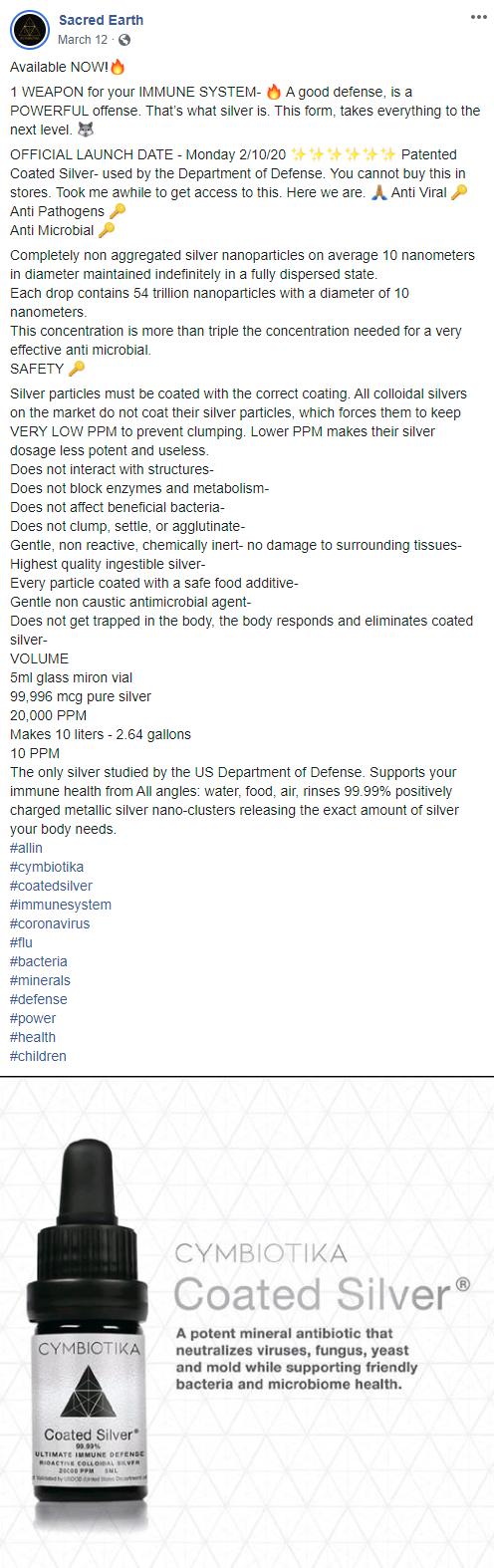Cymbiotika March 12 FB post