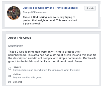 "A Facebook group titled ""Justice for Gregory and Travis McMichael"""