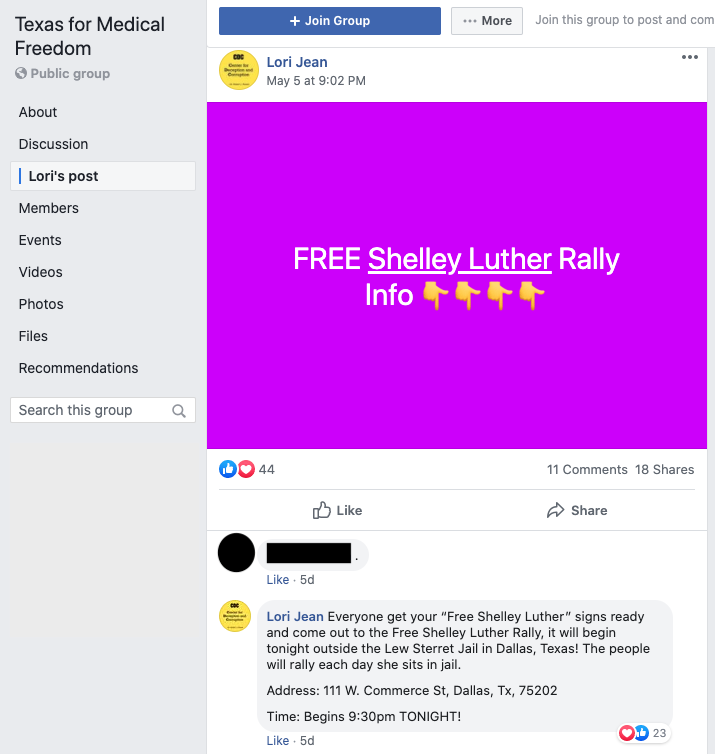 Image of post on group page