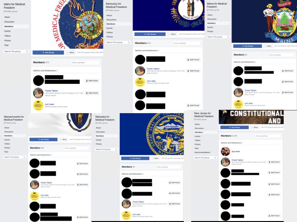 Image of 6 Facebook groups' admins