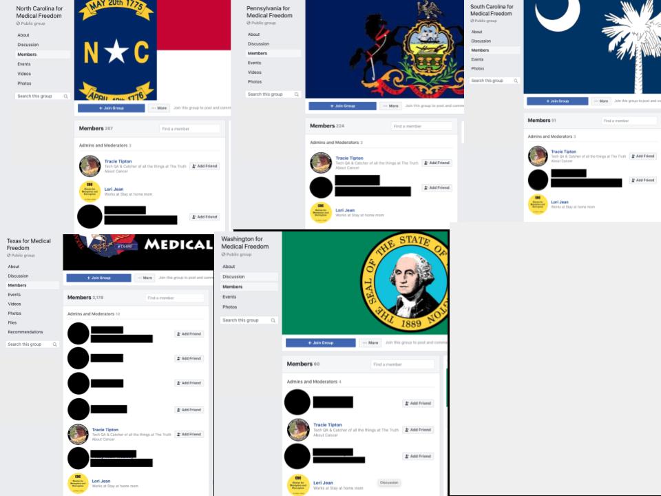 Image of 5 Facebook groups' admins