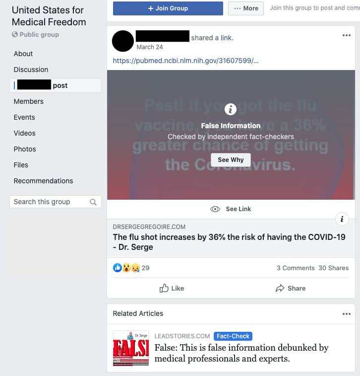 Image of post in Facebook group