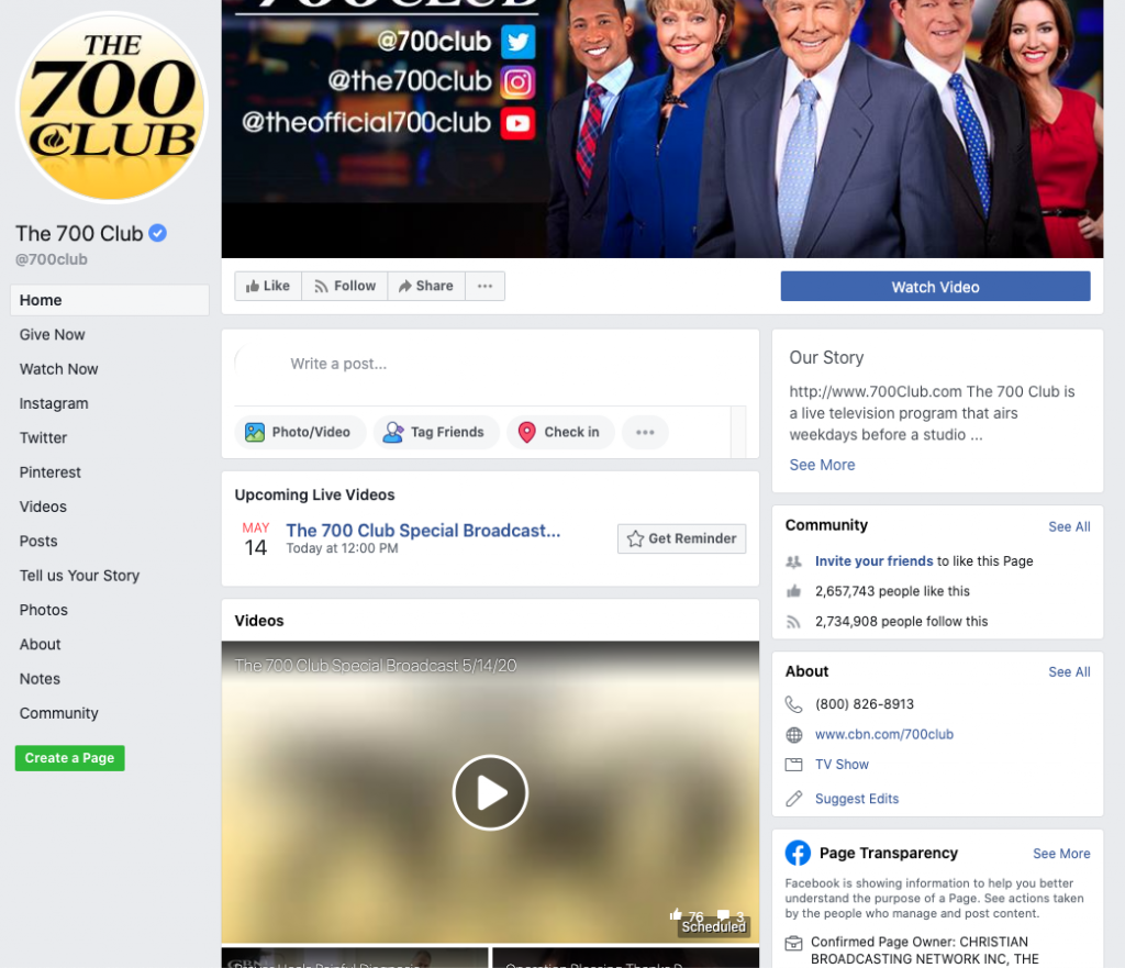 Image of The 700 Club's Facebook page